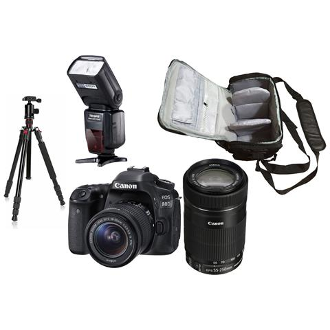 Eos 80d + Ef-s 18-55mm Stm + Ef-s 55-250mm Stm + Borsa Fotografica Professionale + Treppiedi + Flash