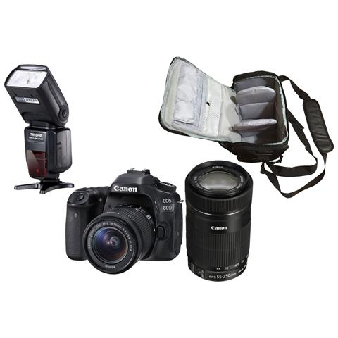 Eos 80d + Ef-s 18-55mm Stm + Ef-s 55-250mm Stm + Borsa Fotografica Professionale + Flash