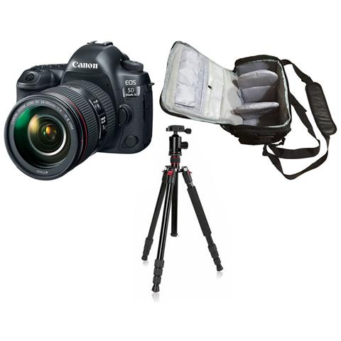 Eos 5d Mark Iv + Canon Ef 24-105mm F / 4l Is Ii Usm + Borsa Fotografica Professionale + Treppiedi