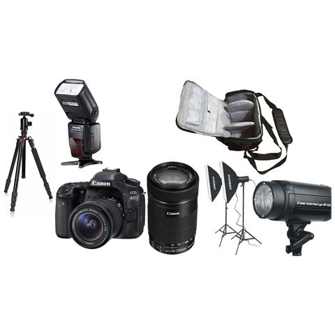 Eos 80d + Ef-s 18-55mm Stm + Ef-s 55-250mm Stm + Borsa Fotografica Professionale + Treppiedi + Flash + Kit Di Illuminazione Per Studio
