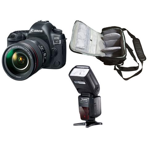 Eos 5d Mark Iv + 24-105mm F / 4l Ii + Borsa Fotografica Professionale + Flash
