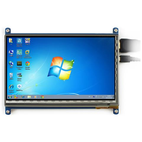 Display Touch Screen 7'' 1024x600 per Raspberry Pi, Banana Pi, Banana Pro e Beagle Board black