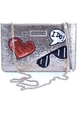 Borsa Shopping Love Moschino  BORSA POCHETTE TRACOLLA DONNA  IN PELLE GLITTERATA ORO E PATCH F